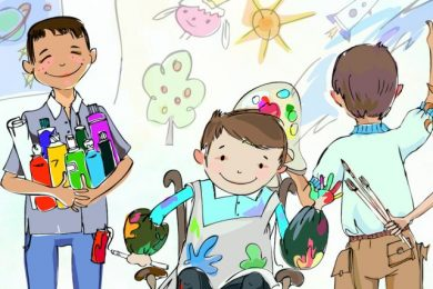 cartoon of children doing arts and crafts in school, the boy in the middle is in a wheelchair