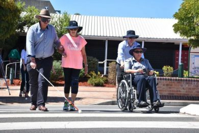 Gunnedah council staff and councillors take a small step towards experience disabled challenges.