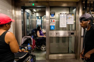 Gabriela Amari, using a subway elevator, must take a circuitous route to work because the station she lives near is not accessible.