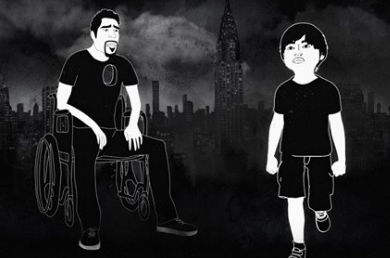 Cartoon image of father, Jason DaSilva in wheelchair on left, and son on right.