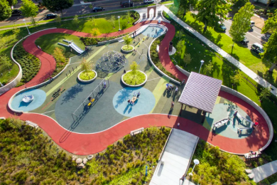 An aerial view of the Salem Rehab Adaptive Playground, an inclusive therapy and community play area designed in part by Portland-based Harper's Playground.