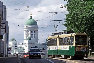 A tram in Helsinki, where Mobility as a Service plans are administered through the app