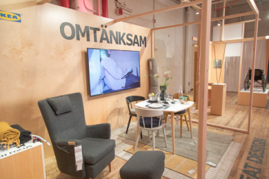 """New and existing products from the """"OMTANKSAM"""" collection from IKEA on display"""