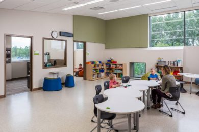 At the Pankalo Education Center in Lake Elmo, Minn. the size and placement of windows were designed to optimize natural light and a breakout room off the main classroom is available for one-on-one therapy or quiet time.