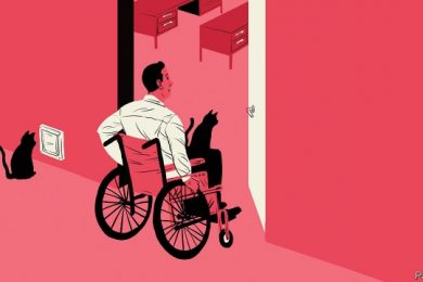 Pink graphic of wheelchair user moving through doorway