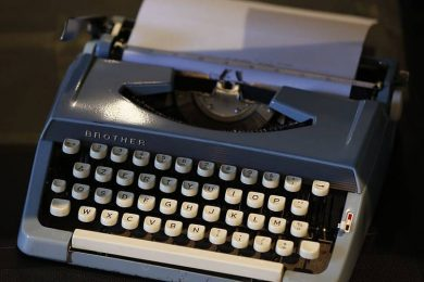 A typewriter is displayed at Massilia Vintage international fashion and design fair in southeastern France