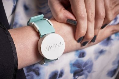 Emma Watch (2016), designed by Haiyan Zhang and Nicolas Villar and manufactured by Microsoft Research, uses haptic vibration technology to allow users with tremors to regain the use of their hands. The prototype is among 20 products, projects and services developed by and with people with disabilities in the Access+Ability exhibition in the Davos Congress Centre