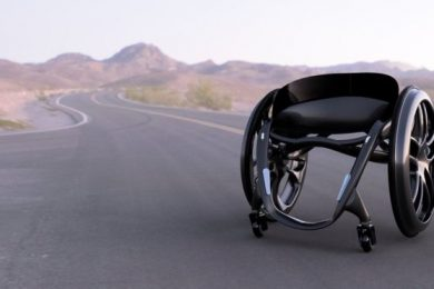 The futuristic-looking wheelchair has been designed to reduce painful vibrations