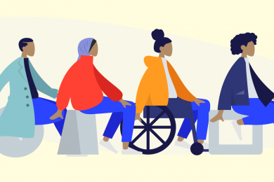 Illustration with pale yellow background. There are four figures, all sitting down. One of the figures is sitting in a wheelchair