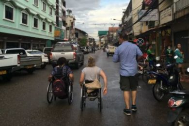 Australian volunteers navigating the streets of Vientiane