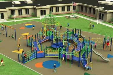 Rendering of playground sought to build this playground at Smith Elementary School, as well as one at Hope D. Wall School, in Aurora.