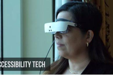 User wearing eSight glasses
