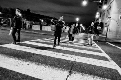 People crossing a crosswalk
