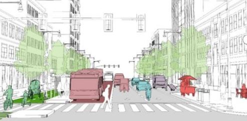illustration of an accessible streetscape