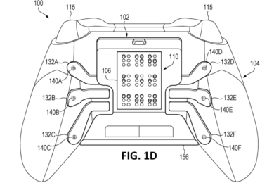 Diagramatic drawing of an Xbox controller with built-in Braille display