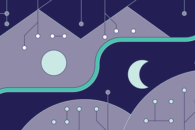 Illustration of circles being connected with lines, a full moon, and a crescent moon.