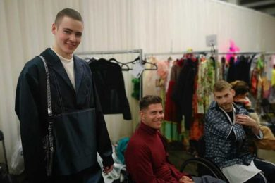 Evie's smiling models in the dressing room