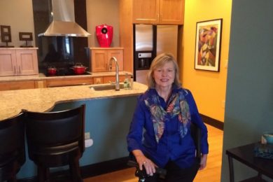 Jane Earl, an advocate for universal design, is shown in her renovated condominium.