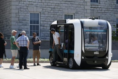 UB shows off its driverless shuttle bus Olli during a forum on driverless vehicles at UB South Campus.