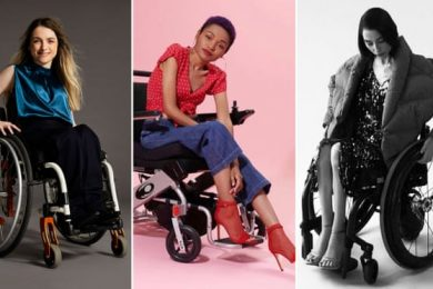 Adaptive fashion from: (left) Kintsugi and Zappos Adaptive, styled by Stephanie Thomas of Cur8able.