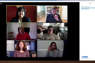 Screenshot of a Zoom meeting with six individuals using sign language