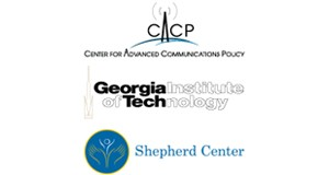 sheperd center logo, georgia institute of tech logo, center for advanced communication policy logo