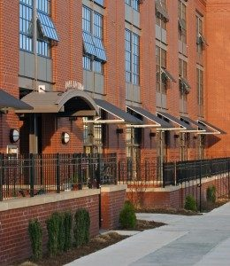 UD features at 6 North show patios with flush-to-sidewalk walkways
